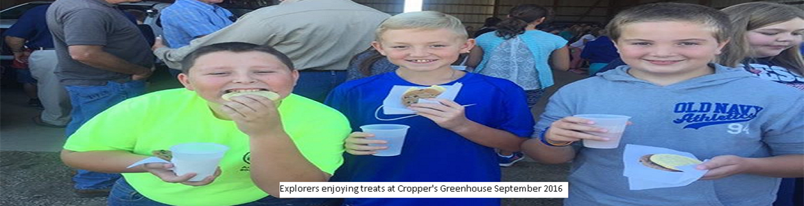 Explorers enjoying snacks at Croppers Greenhouse Sept. 2016